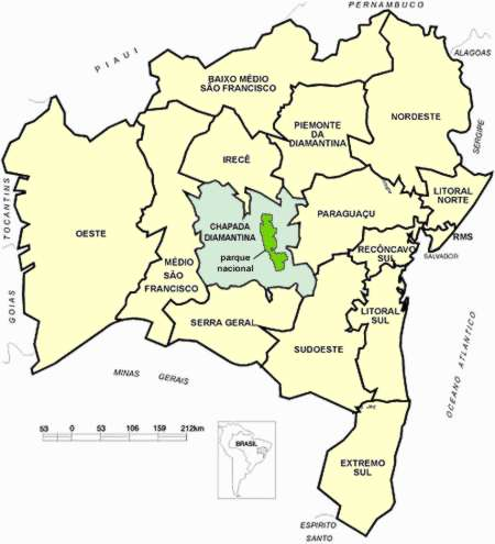 The map divides the Bahia´s state in regions